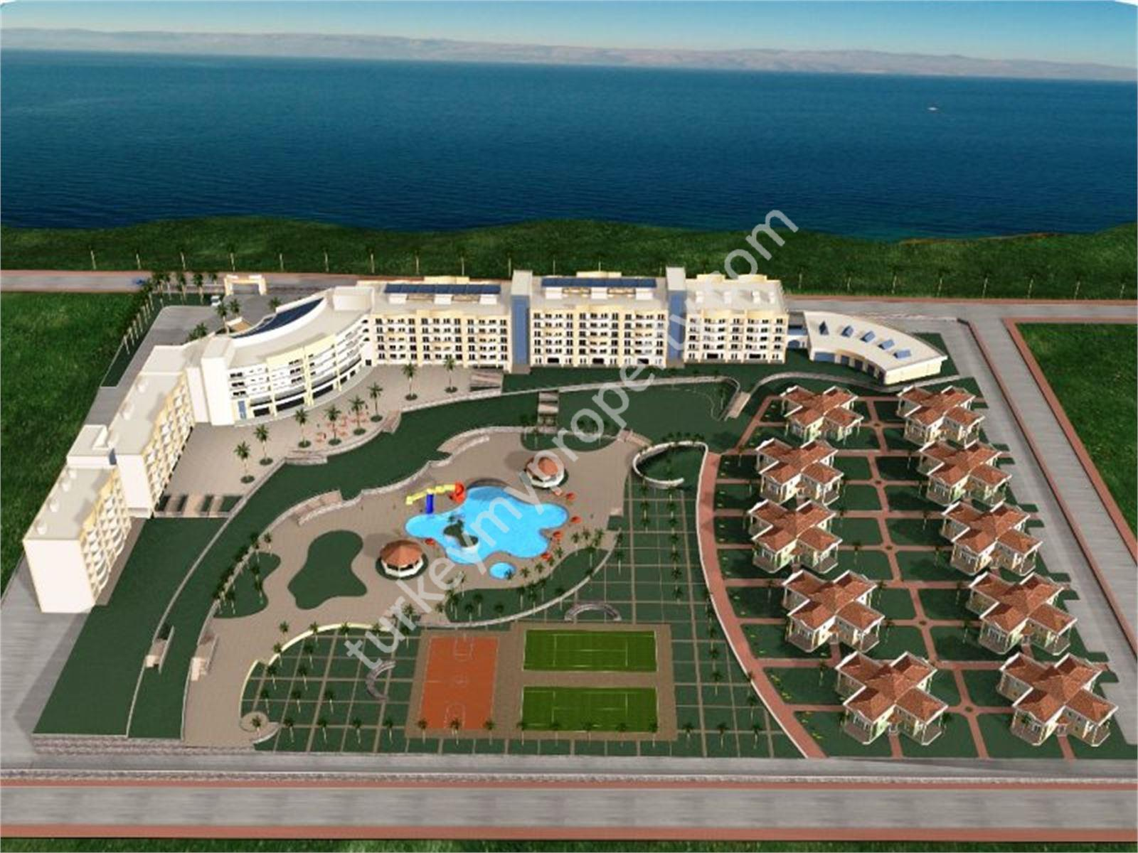 Hotel (7 buildings with 40 villas) overlooking the sea for sale in Izmir